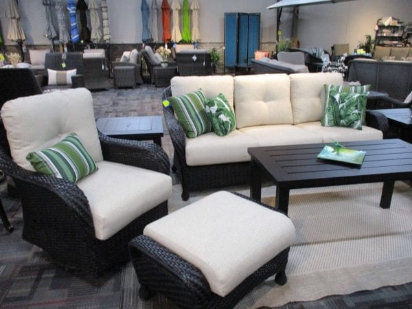 gliding chair and couch patio set