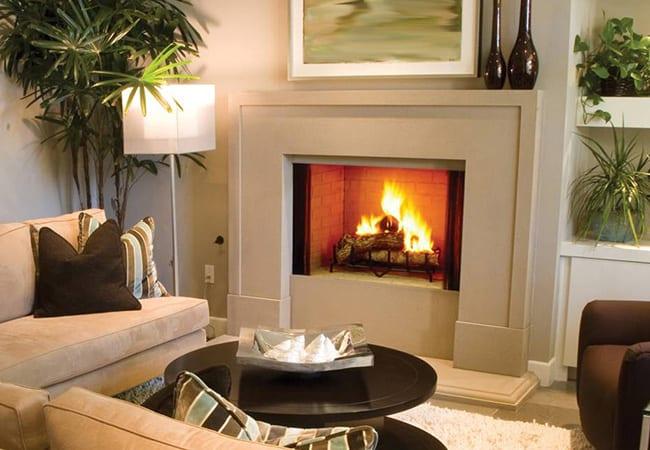 living room wood fireplace