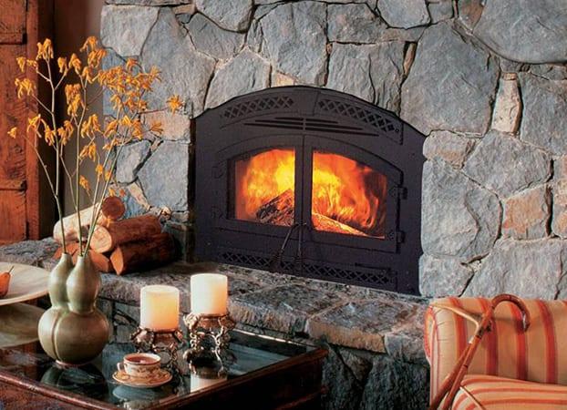indoor wood burning fireplace